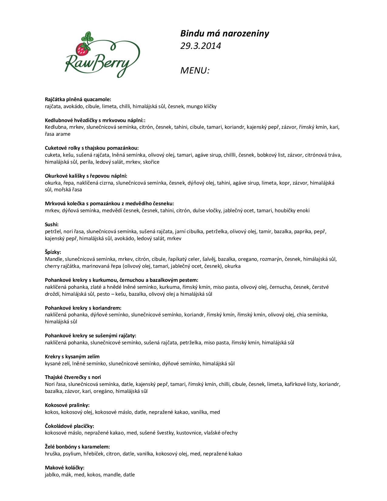 oslava narozenin menu Oslava narozenin jógového centra Bindu Yoga | Rawberry oslava narozenin menu